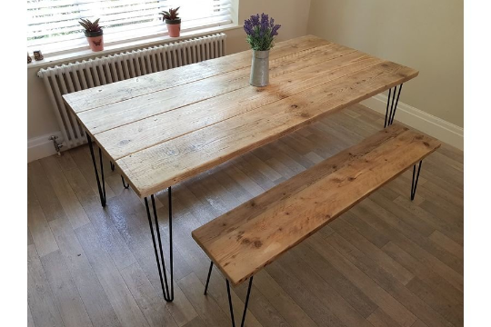 Lee Furniture Reclaimed Dining Table With Hairpin Table Legs